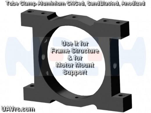 CNC Tube Clamp 35mm CNC AL -Black Matte Anodized