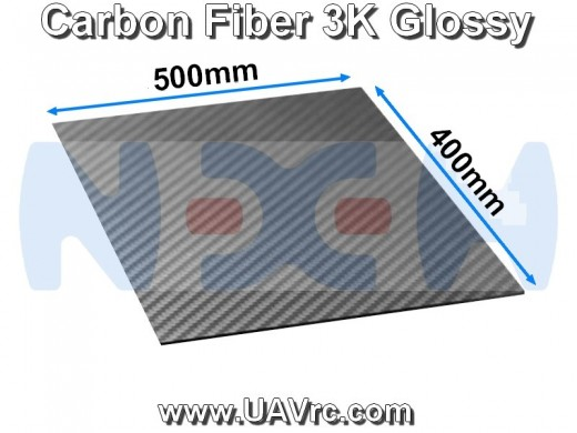 Carbon Fiber 500x400 x4mm 3K Plate Panel Sheet, Plain Weave, Matte Surface